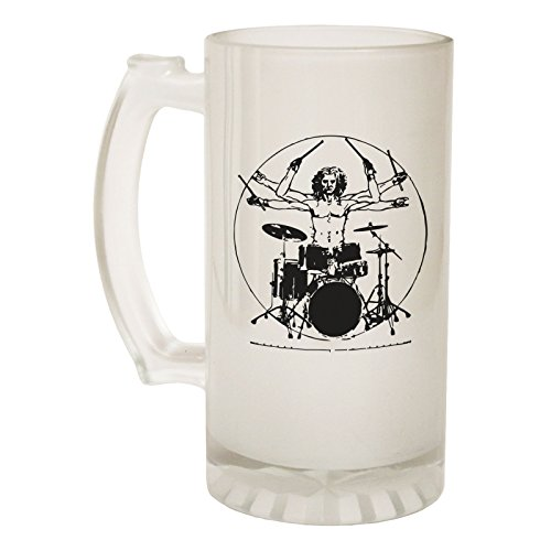 123t Beer Stein 16oz - Frosted Glass Leonardo Drummer Music Funny Novelty Birthday Joke dad Grandad Uncle Christmas Pitcher tankard