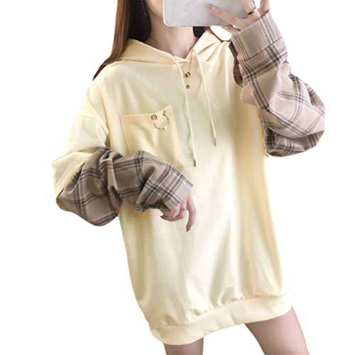 OranDesigne Kapuzenpullover Damen Harajuku Ästhetische Bär Anime Hoodie Sweatshirt Kpop Herbst Winter Kleidung Tops Weiß L