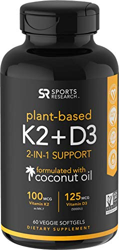 Vitamin K2 + D3 with Organic Coconut Oil for...