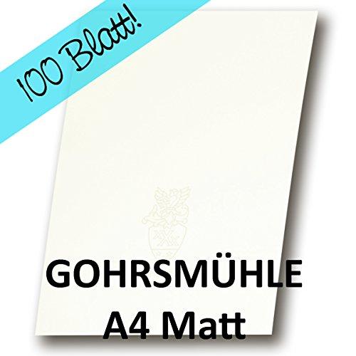 100 Stück - ZANDERS GOHRSMÜHLE Papier, Weiß Matt DIN A4 - für hochwertige Dokumente - Grammatur: 90 g/qm