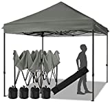 MEWAY 10ft Patio Awning Garden Shade Commercial Ez Pop Up Canopy Tent Instant Canopy Party Tent Sun Shelter with Wheeled Bag,Flea Market Tent (Grey)