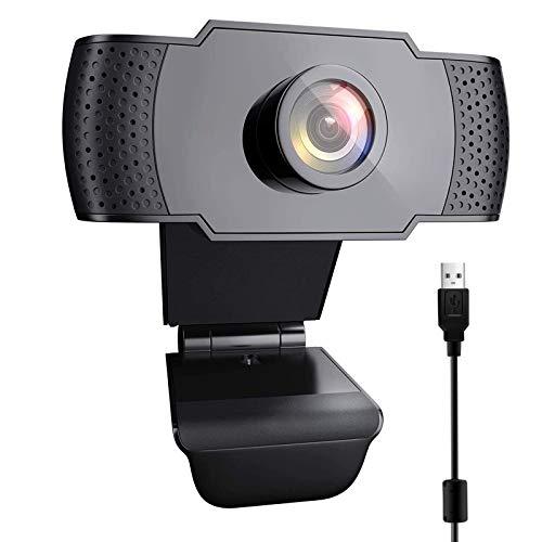 VESSTT - Webcam Full HD 1080P con micrófono USB para llamadas, vídeo y Webcam HD de enfoque fijo