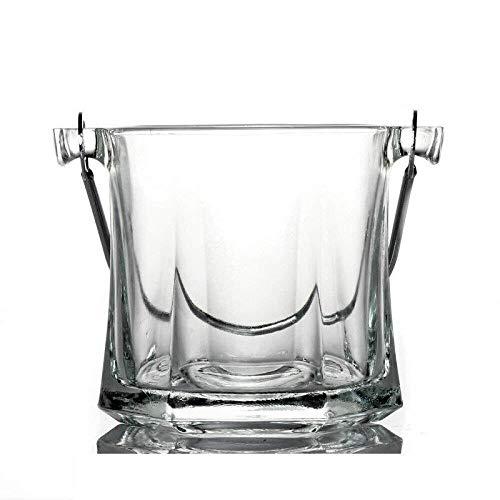 Mzxun Cubos de hielo 1L vidrio cristalino de la barra KTV cubo de hielo del cubo de Champán con la manija del cubo de hielo cubo de hielo hexagonal Cubo de hielo Enviar Clip 12.5X13CM