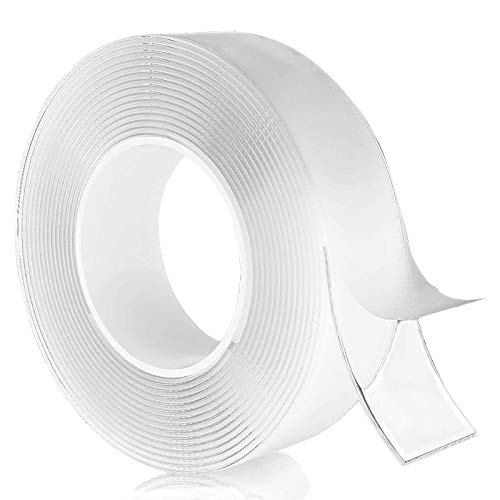 Nano Double Sided Tape Heavy Duty (5M / 16.5FT) Removable Gel Tape, Non-Marking Transparent Adhesive Installation Tape, Washable Strong Adhesive Tape, Carpet Poster Tape, for Home Office