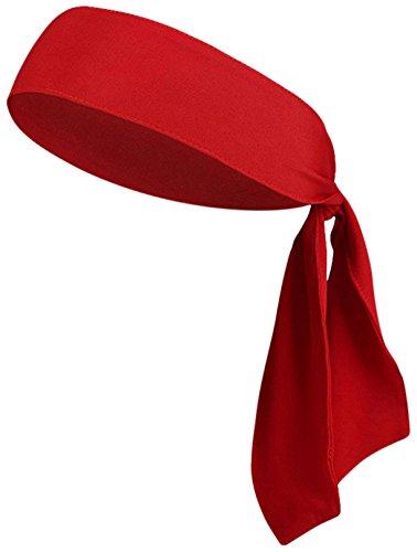 "V-SPORTS Dri-Fit Head Ties Tennis Headbands Sweatbands Performance Elastic and Moisture Wicking, Red, 1 Piece, One Size, 40.16""L/2.37"" W"
