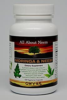 Moringa Neem Leaf Capsules All Natural Organic 120 Count Vegatarian Capsules Made in USA Moringa Oleifera 400 mg Azadirachta Indica 500mg - Natural Body Cleanse, Energy Booster