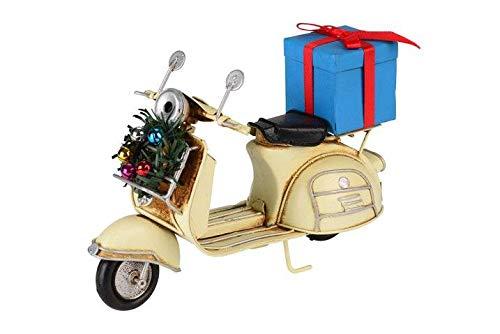 Gift Company X-Mas kerstdecoratie decoratief retro scooter met geschenkcrème