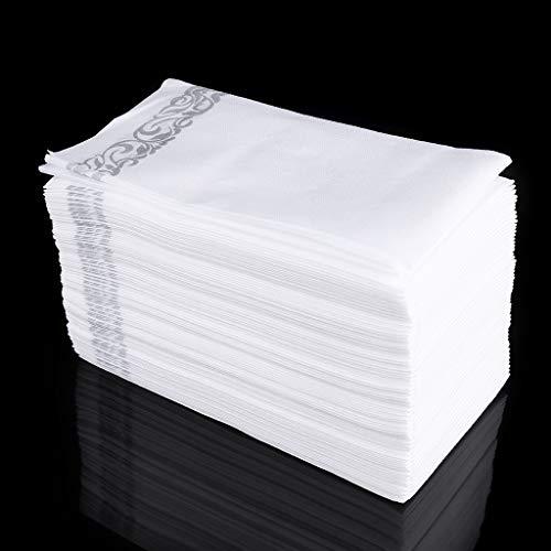 MB-LANHUA Toallas Desechables Toallas para huéspedes en Lino - Toallas Decorativas Blancas, Toallas de Papel de Seda con Motivos Florales Plateados