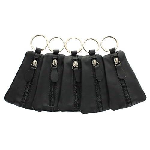 Portachiavi con logo Ashlie Leather e borsellino di pelle ACK1 Nero X 5