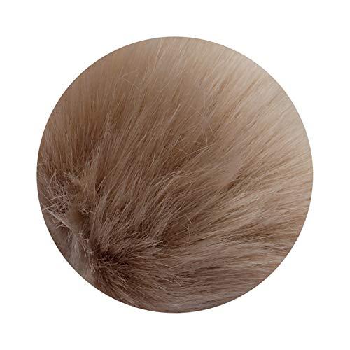 Llavero 1 unids 8cm Fake Fur Marca Bolsa Llavero Pompom Coche Llavero Llavero Plata Cadenas de Color Pompons Fake Fox Conejo Charms Charms Cadena A Stranger Things Llavero (Color : Brown)
