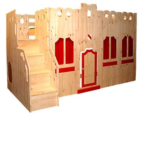 silenta Hochbett Traumburg mit Burgtreppe und Burgfassade mit Fenstern, Vorhängen und Türchen