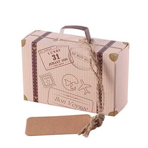 OurLeeme Scatole di Caramelle da 30 Pezzi, Scatola di Carta Durevole Delicata a Forma di Mini Valigia Sacchetti Regalo di Biscotti al Cioccolato Dolce per Festa, Matrimonio, Compleanno