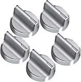 W10594481 Stainless Steel Stove Control Knob Burner knob Upgrade All Metal with Interface 5Pack Cover Knob for...