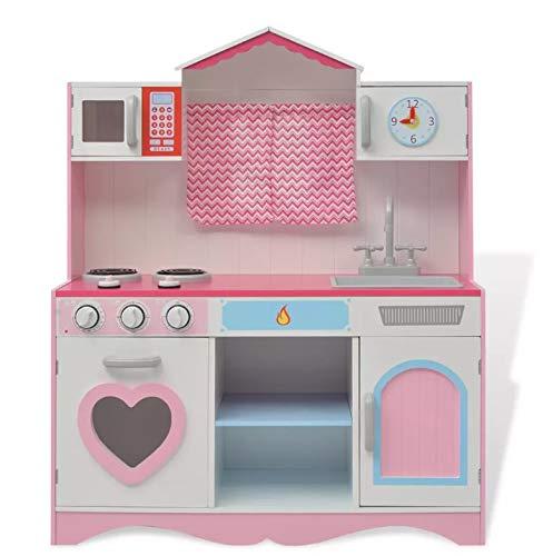 Mini Cocina Juego para Niñas Rosa, Cocinita de Juguete con Características de Sonidos, 82 x 30 x 100 cm