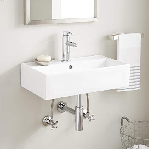 Signature Hardware 941484 Goncalves 22' Vitreous China Wall Mounted Bathroom Sink with Single Faucet Hole and Overflow