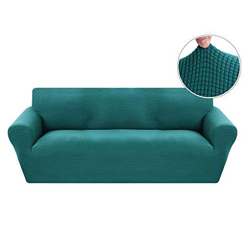Funda de Sofá Elástica de 3 Plazas de Punto,Tejido Jacquard de Poliéster y Cubre Sofa Universal Cubierta de Muebles Elegante y Duradera,Desmontable y Lavable,Funda Protector para Sofa Sillón Verde