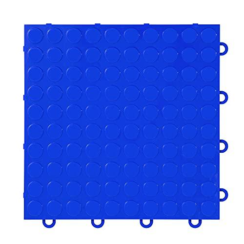 "IncStores ⅜ Inch Thick Nitro Interlocking Garage Floor Tiles   Plastic Floor Tiles for a Stronger and Safer Garage, Workshop, Shed, or Trailer   12""x12"" Tiles, Coin, Blue, Pack of 52"