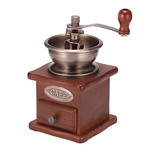 Vangonee - Macinacaffè manuale portatile in stile retrò, in legno, macinino a forma di rotella, con design a mano, per caffè vintage