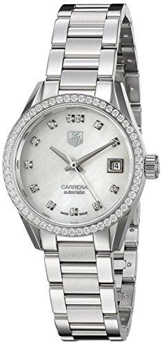 TAG Heuer de la mujer 'carrera' Swiss automático acero inoxidable reloj de vestido, color: silver-toned (modelo: war2415. ba0776)