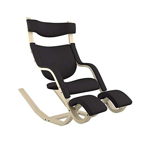 Varier Gravity Balans Recliner and Kneeling Chair Designed by Peter Opsvik (Black Revive Fabric with Natural Ash Base)
