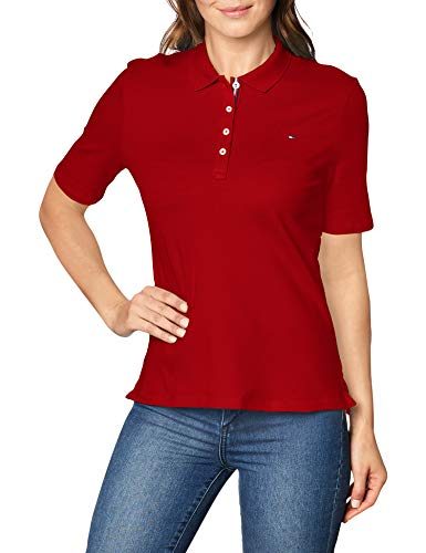 Tommy Hilfiger TH Essential Reg Polo SS Camiseta, Rojo (Primary Red), S para Mujer