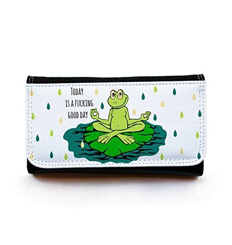 ilka parey wandtattoo-welt Portemonnaie Geldbörse Brieftasche Yoga Frosch mit Spruch Good Day gbg022