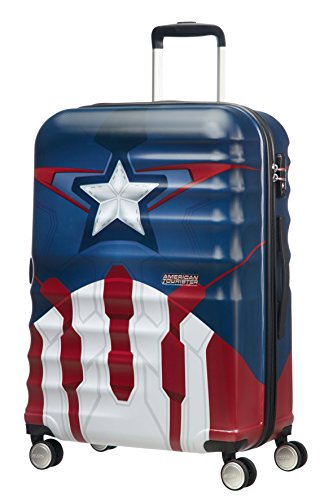 American Tourister Disney Wavebreaker Marvel - Maleta, Cuatro Ruedas, Multicolor (Captain America Close-Up), M (67cm-64L)