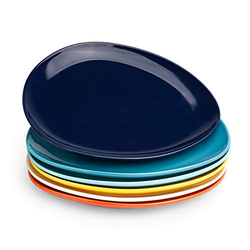 Sweese 158.002 Porcelain Triangular Dinner Plates - 10 Inch - Set of 6, Hot Assorted Colors