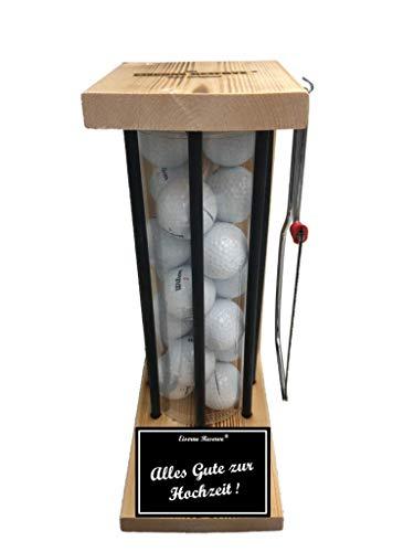 Alles Gute zur Hochzeit - Die Eiserne Reserve ® Black Edition Golfer Geschenk incl. Säge & 20 Golfbälle - Golfergeschenk für Männer & Frauen