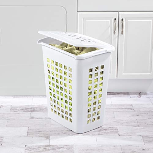 Sterilite 12238004 Rectangular LiftTop Laundry Hamper, White, 4-Pack