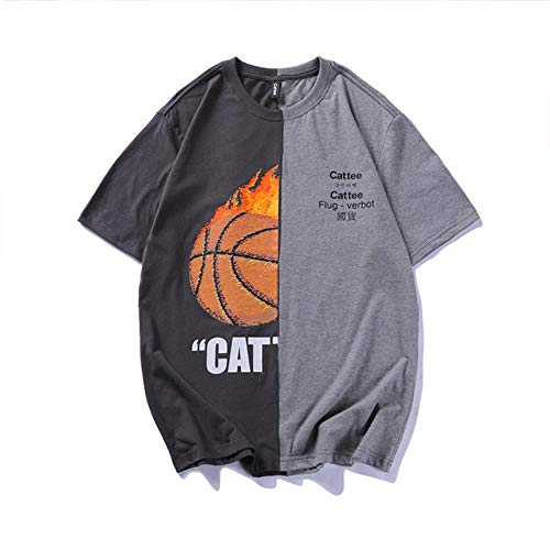 YXY zomer basketbal print korte mouw mannen los casual T-Shirt