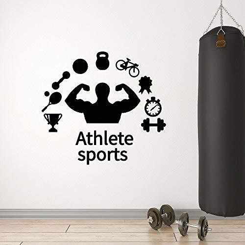 Estilo de vida saludable vinilo pared calcomanía Fitness atleta ejercicio músculo mancuernas bicicleta arte puerta ventana pegatina sala de estar decoración del hogar