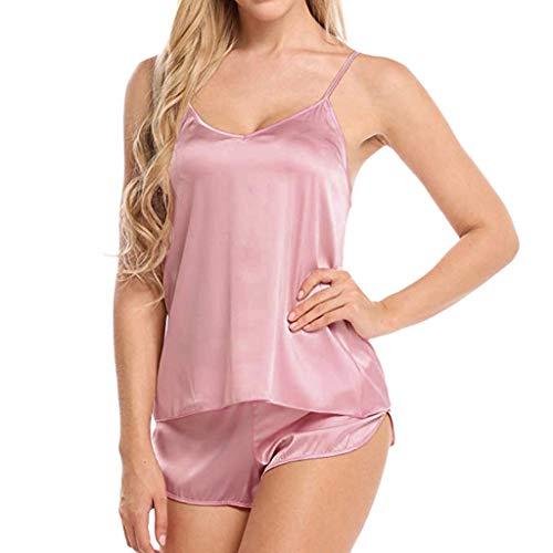 Proumy Pijama Mujer Verano Sólida Ropa de Dormir Dos Piezas Bata Sexy con Calzoncillos Abierta Lateral Vestido Interior Conjunto Camisola de Talla Grande Chaleco de Tirantes Ajustables Lingerie Rosa