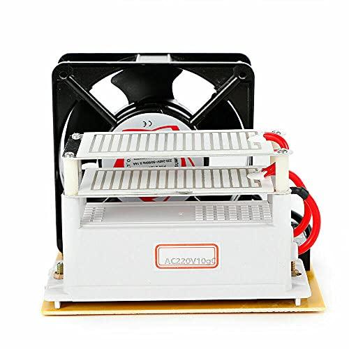 125 x 155 x 125 mm generador de ozono desinfectante purificador de aire 100 W ventilador 220 V 10 g/h dispositivo de ozono contra gérmenes, moho, malos olores para habitaciones, humo, coches