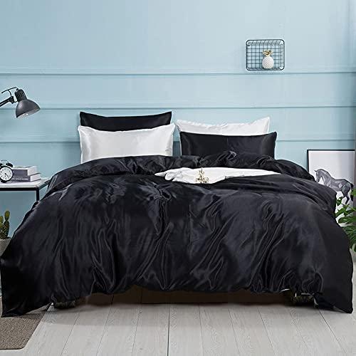 AShanlan Juego de ropa de cama de satén, 155 x 220 cm, color negro, monocolor, funda nórdica 100 % lisa, agradable y brillante, poliéster – 1 funda nórdica 155 x 220 + 1 funda de almohada 80 x