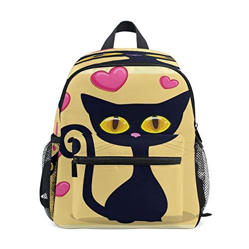 Black Cat Kitty Heart Toddler Preschool Backpack Bookbag Mini Shoulder Bag Rucksack Schoolbag for Pre-K 1-6 Years Travel Boys Girls