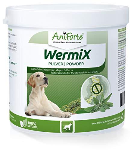 AniForte WermiX Pulver für Hunde 250g - Naturprodukt vor, während und nach Wurmbefall mit Saponine, Bitterstoffe, Gerbstoffe, Wermut, Naturkräuter harmonisieren Magen & Darm