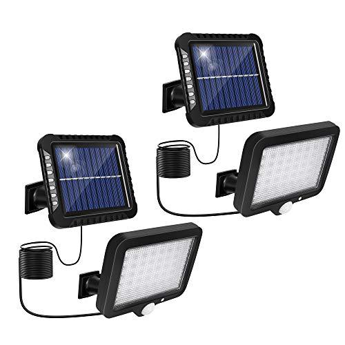 Luz Solar Exterior, Luz Solar de Pared con Sensor de Movimiento [2 piezas, 3 Modos] Luces LED Solares Impermeable IP65, Foco Led Solar Exterior Separada, Luz de Jardín Exterior con Cable de 5m