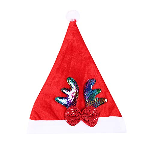 Allsunny Christmas Hat Sequins Reindeer Adults Christmas Hat Xmas Party Bar Costume Cap Props Decor Multicolor