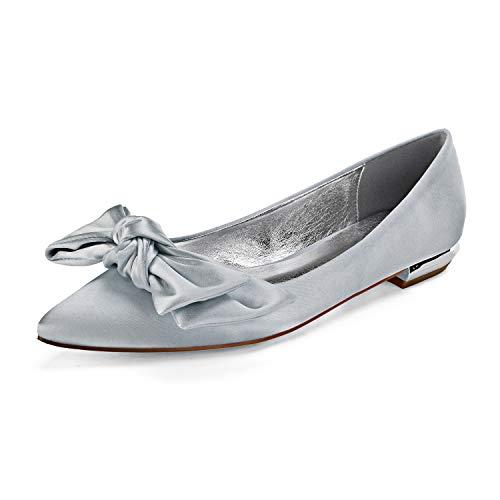 Zapatos De Boda De Novia para Mujer Marfil Punta Cerrada Dedo del...