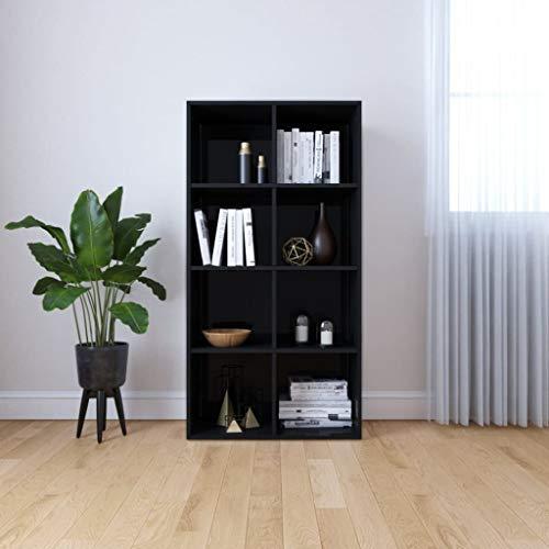 Boekenkast/dressoir 66x30x130 cm spaanplaat hoogglans zwart