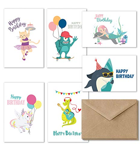 Kids Happy Birthday Cards Assortment, 36 Fun Birthday Cards for Kids, Girl Unicorn Birthday Card, Boys Birthday Card Variety Pack, Greeting Cards for all Kids, 4x6 Inches