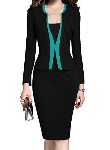 MUSHARE Women's Colorblock Wear to Work Business Party Bodycon One-Piece Dress (Medium, Black+Blue)
