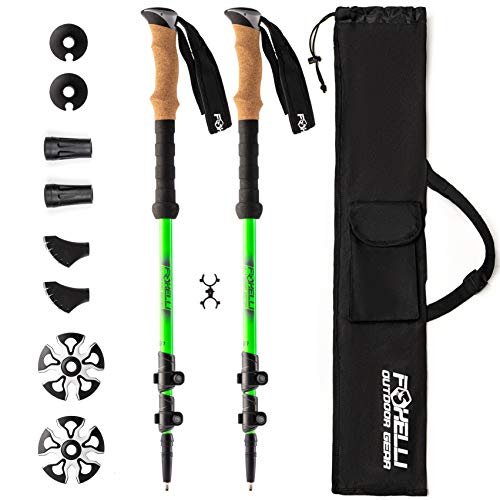 Foxelli Trekking Poles – 2-pc Pack Collapsible Lightweight Hiking Poles, Strong Aircraft Aluminum Adjustable Walking Sticks with Natural Cork Grips, Quick Locks, 4 Season All Terrain Accessories