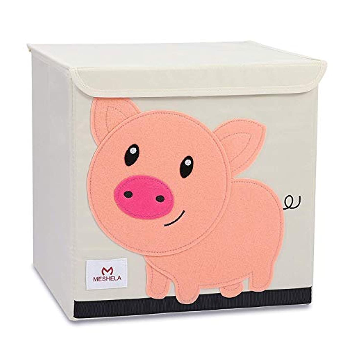 Pasutewel Kids Storage Box, Large Capacity Foldable Cartoon Canvas Cube Organiser For Clothes, Shoes, Toys (Pig)