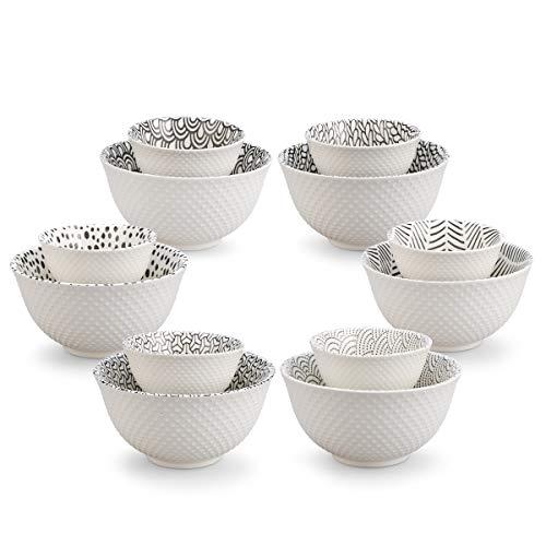 Juego de cuencos de porcelana con estampado texturizado de 12 piezas, tamaño grande y pequeño, para cereales, ensalada, sopa, ramen, postre, arroz, fideos, pasta, helado, sopa de miso, condimento