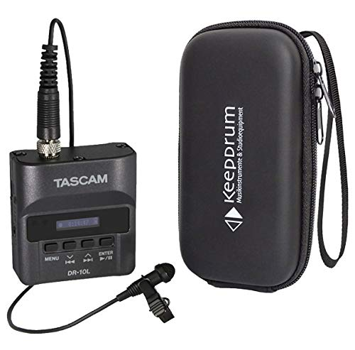 Tascam DR-10L Recorder mit Lavalier-Mikrofon + keepdrum Soft-Hülle Tasche