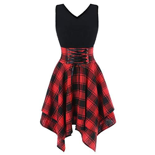 Karo Rock, Steampunk Rock, Rock Kariert, ÄRmelloses, Schulterfreies, UnregelmäßIges Kleid Mit SchnüRung Und Plaid-Print, A-Linien Rock
