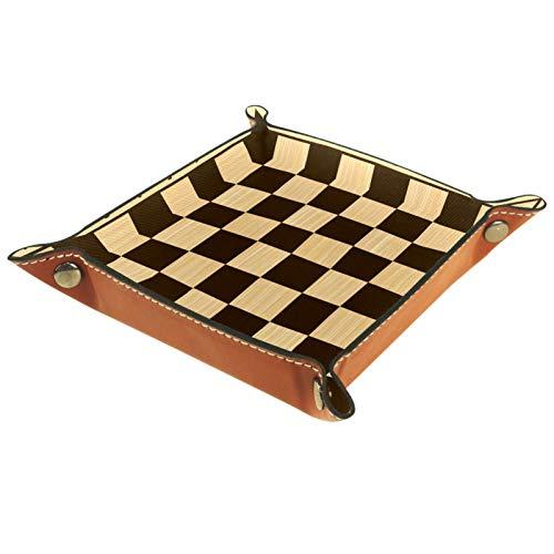 YATELI Caja de Almacenamiento pequeña, Bandeja de Valet para Hombre,Tablero de ajedrez,Organizador de Cuero para Llaves de Caja de Monedas