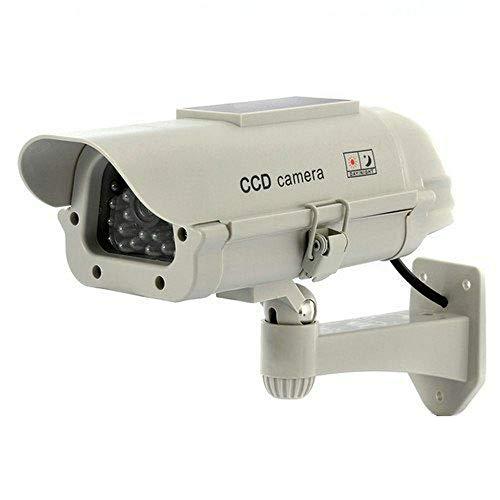Fausse caméra de sécurité pour intérieur/extérieur avec lumière LED alimentée par énergie solaire